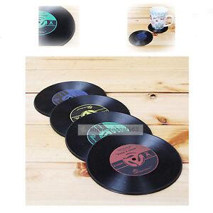 CD Record Vinyl Vintage Coasters 4Pcs Groovy Tableware Bar Drinks Mats Cup