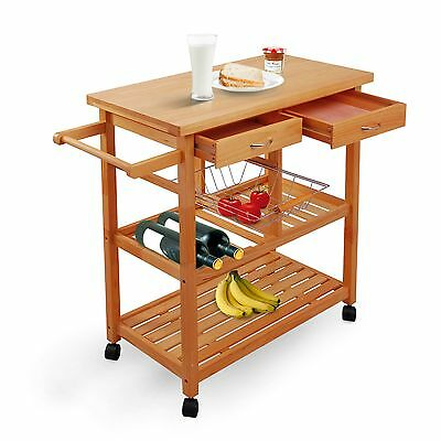 HomCom Portable Rolling Home Storage Cart Drawers Kitchen Table Trolley - Wood