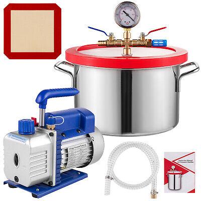 3 Cfm Vacuum Pump 1 Gallon Vacuum Chamber Hvac Refrigerant Rotary 84lmin