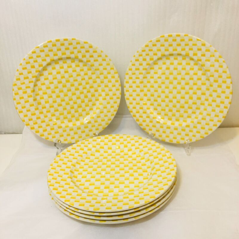 Burgess & Leigh Burleigh Chequers Yellow Staffordshire England 6 Dinner Plates