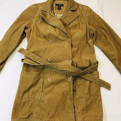Women's Abercrombie & Fitch Large Trench Coat A&F Tie Waist Coat Drapey