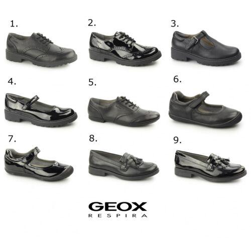 si Por lo tanto Regenerador  GEOX JR CASEY Girls Leather Uniform Brogues Black | eBay