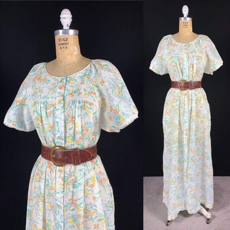 Vintage Sheer Cottagecore Floral Prairie Maxi Dress Romantic Pintuck Lace Trim