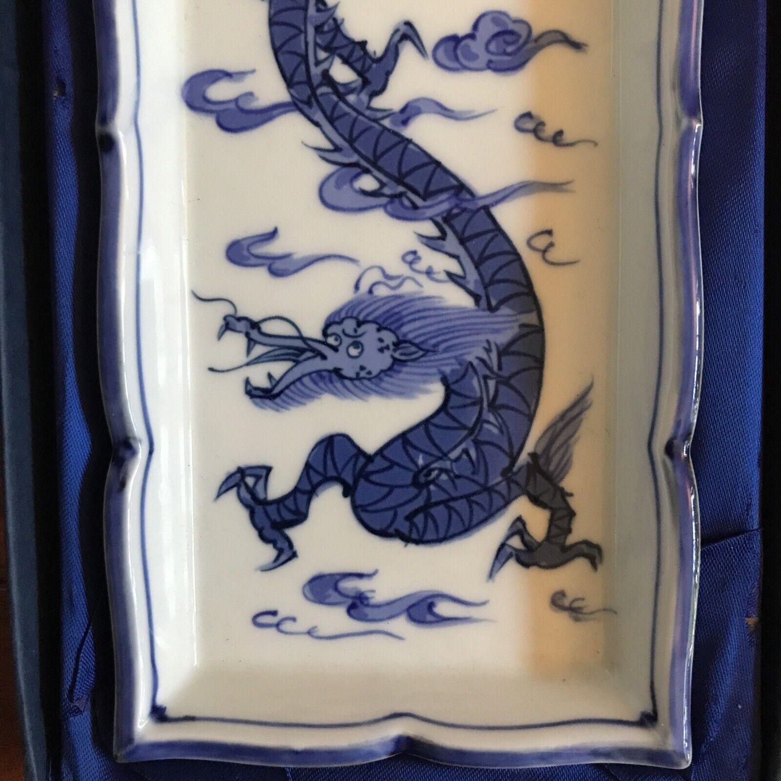 Antique Chinese Blue White Rectangular DRAGON Porcelain Canton Tray Dish RARE - $499.99