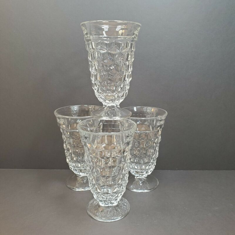 """4 Fostoria Crystal American 5.5"""" Footed Water Tumblers"""