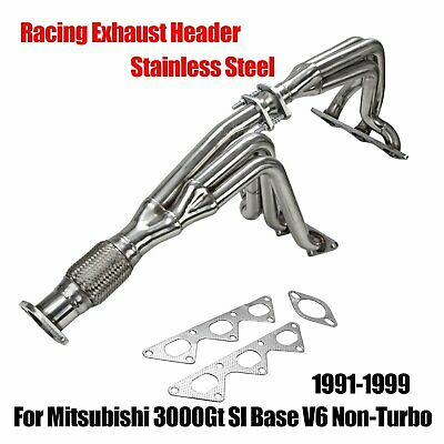 Fits 91-99 Mitsubishi 3000Gt Sl Base V6 Non-Turbo Stainless Steel Racing -