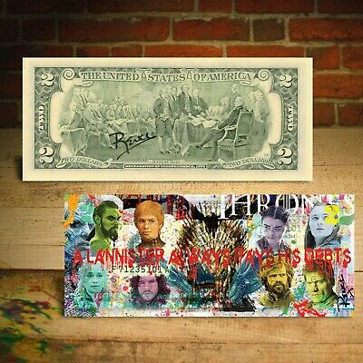 GAME OF THRONES Genuine Legal Tender U.S. Bill Pop Art HAND-SIGNED by Rency