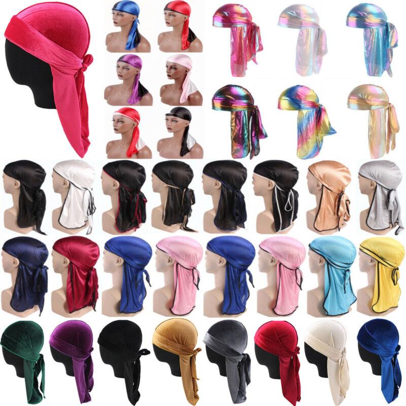 Men Women Velvet Silk Bandana Wrap Hats Pirate Cap Durag Hai