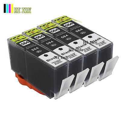4PK Black Ink For HP 564XL PhotoSmart 7510 7520 5510 5520 6510 printer