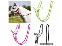 Rope Halter With Reins Parelli Natural Horsemanship Bitless Bridle RED FULL