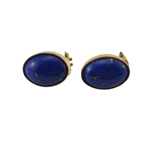 Vintage 18 Karat Yellow Gold Lapis Lazuli Earrings #9902