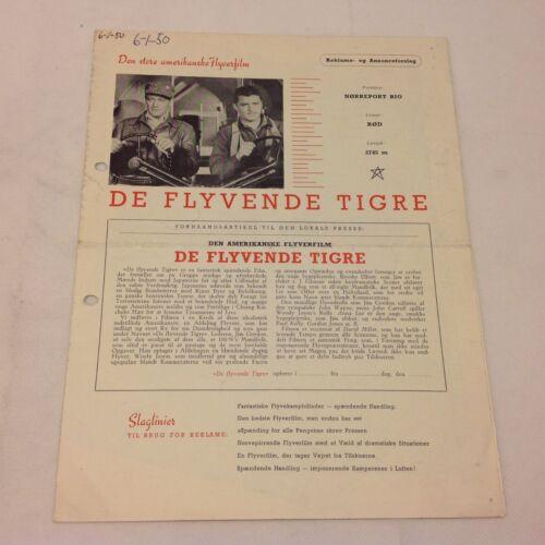 Flying Tigers John Wayne John Carroll Anne Lee 1942 Danish Movie Press Release