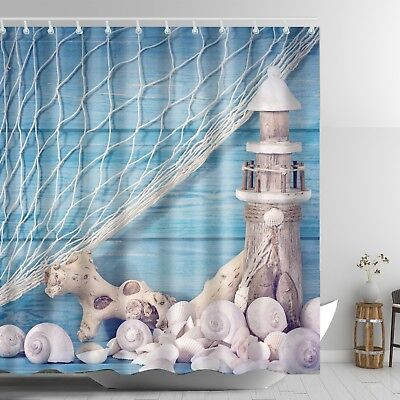 Lighthouse Shower Curtain Seashell Conch Wooden Dock Bathroom Decor 69 x 72 Blue - Nautical Shower Curtain Hooks