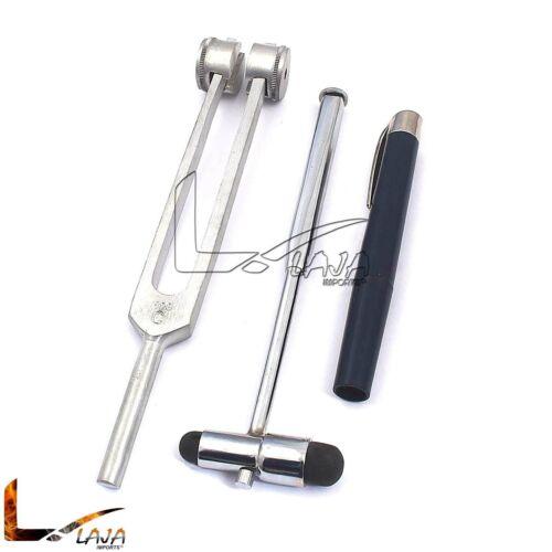 Set of 3 Pcs Reflex Percussion Buck Hammer + Penlight + Tuning Fork C 128