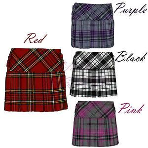 Ladies-Womens-Tartan-All-Round-Pleated-4-Cover-Button-Kilt-Mini-Skirts
