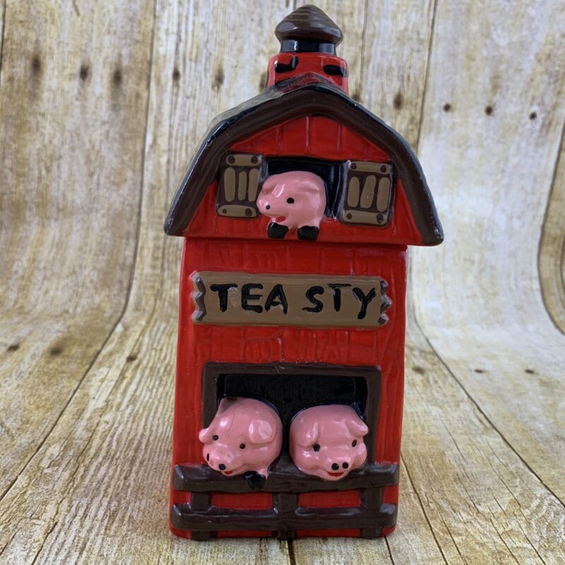 Twin Winton Tea Sty Pig Barn Jar Container Red Ceramic Vintage 80s