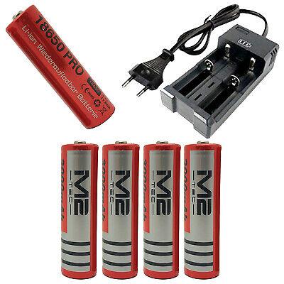 4x 18650 Lithium Ionen Power Akku Batterie 3000mAh 3.7V  Ladeschale Ladegerät - 18650 Lithium-batterie