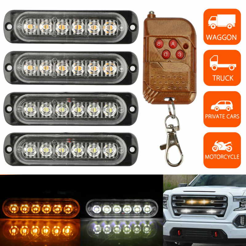 Amber/White 6LED Car Truck Emergency Hazard Flash Strobe Light Dash Warning Lamp