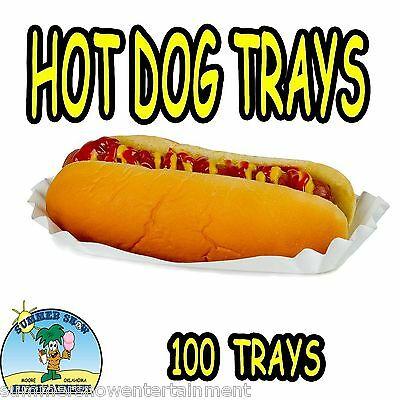 100 Hot Dog Tray Holders Paper Fluted Brand New Concession Supply 1