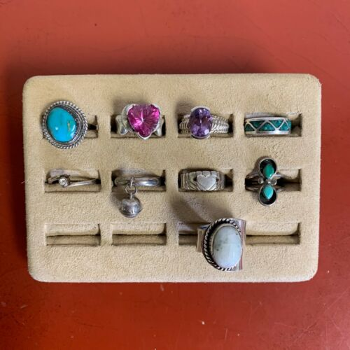 Set Of (9) Sterling Silver Rings Assorted Styles Sizes 7 & UNDER Lot #42