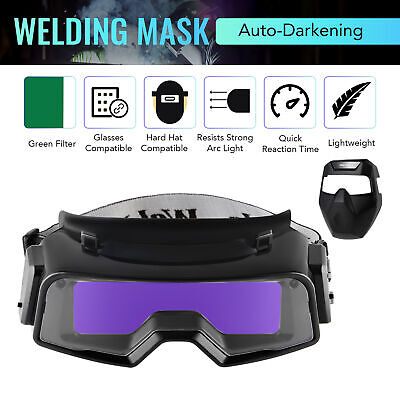 Welding Helmet W Detachable Auto Darkening Goggles For Welding Grinding Cutting