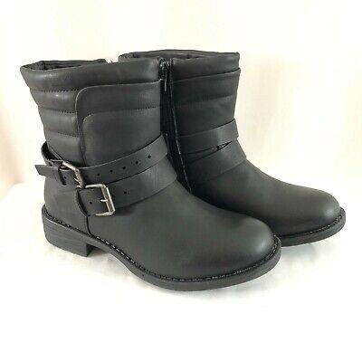 Kadi Maya Womens Combat Boots Faux Leather Buckles Zipper Black Size 7