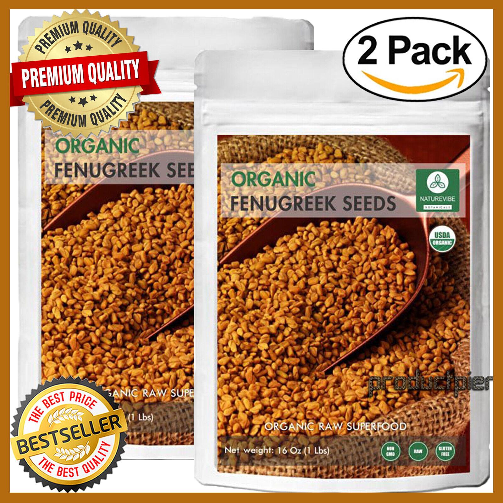 2 LB Organic Raw Pure Fenugreek Whole Seeds Trigonella Foenu