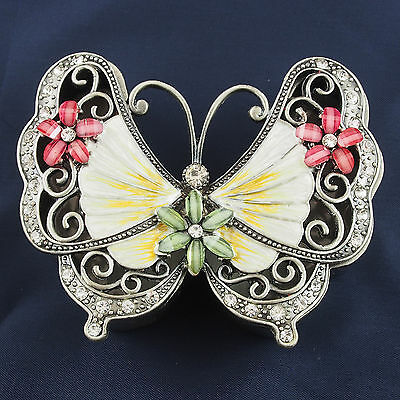 Trinket Box BUTTERFLY Pewter Jewelled Crystals Pink Cream Green Lift off lid 9cm