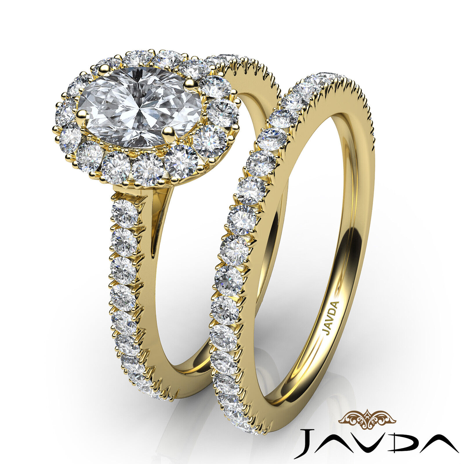 2.21ctw Halo Bridal French Pave Oval Diamond Engagement Ring GIA F-VVS2 W Gold 11