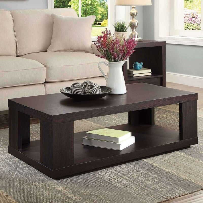 Espresso Coffee Table with Lower Shelf Contemporary Design Living Room Sleek NEW