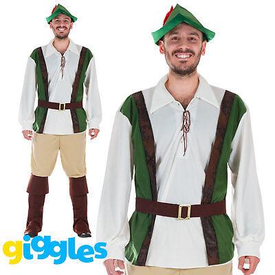 Mens Robin Hood Costume World Book Day Week Peter Pan Fairytale Fancy Dress New