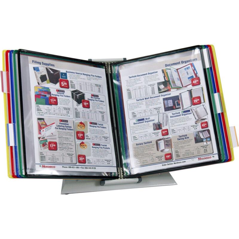 """Tarifold D291 10-Pocket Desktop Reference Rack, Holds 20 8.5 x 11"""" Sheets"""