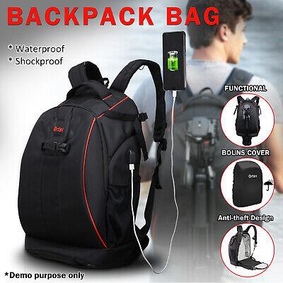 Large SLR DSLR Camera Backpack Rucksack Case Laptop Bag Travel for Nikon Canon
