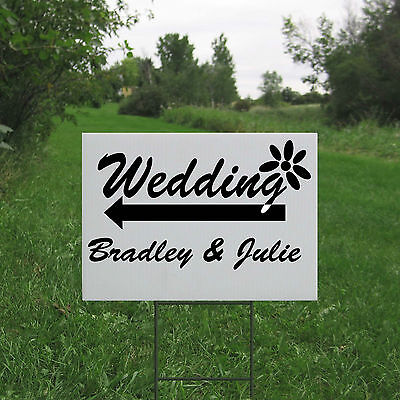 custom personalized wedding yard lawn sign directional with h stake coroplast