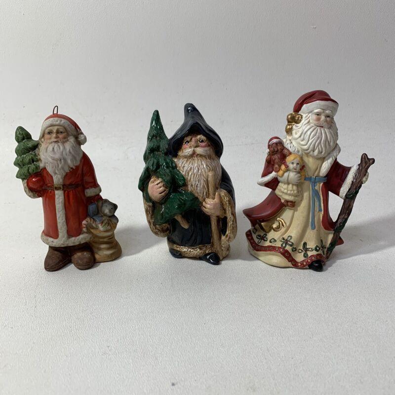 Lot of 3 Christmas Santa Claus Figures Ceramic Holiday Decor
