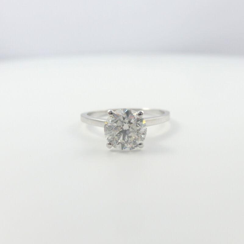 Real Diamond Round Ring 1.5 Ct Agi Appraisal 18 Karat White Gold Size 4.5 - 9