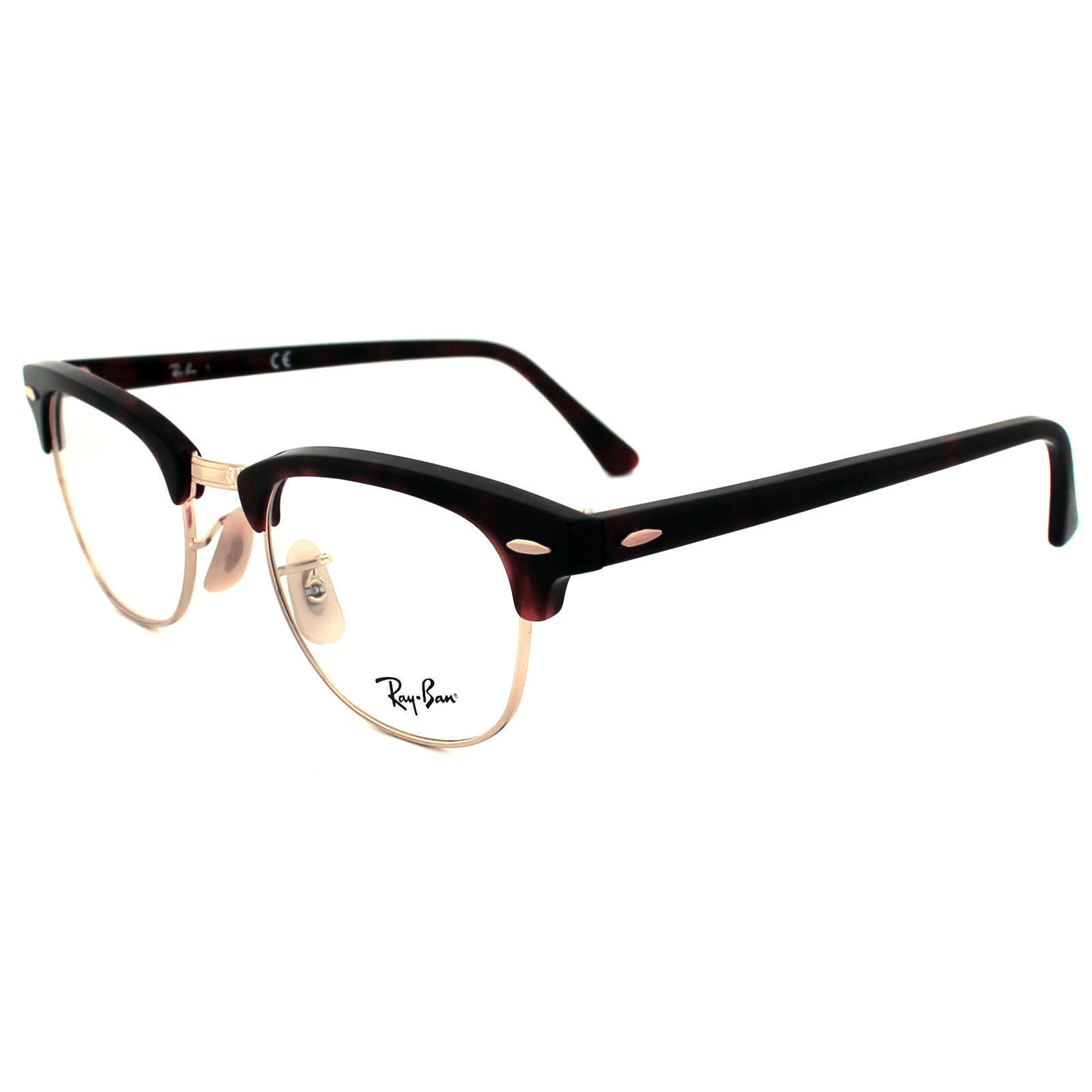 446bc47a0e Ray Ban Eyeglasses Rx5154 Clubmaster 2372 Red Tortoise Gold Plastic ...