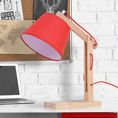 Bedside Table Lamp Dresser Solid Oak Wood Holder Soft Light Glow E14 Base Red