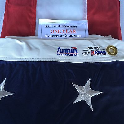 4x6 FT Annin US American Flag Nyl-Glo Nylon Embroidered Star