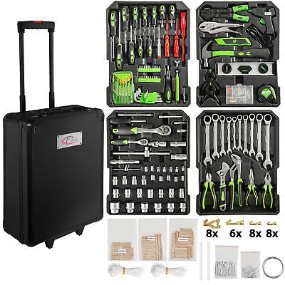 899 Pcs aluminium metal tool box with tools kit storage mobile trolley on wheels