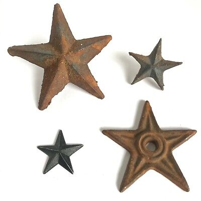 Lot of 4 Vintage Cast Iron Architectural Stars 2 1/8