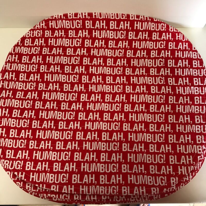 Placemats Oval Blah Humbug Set of 6 Red White Cotton Christmas Quilted Humorous