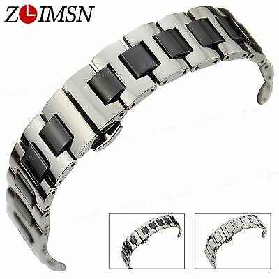 16mm 20mm Stainless Steel White Black Ceramic Watch Band Strap Silver Bracelet