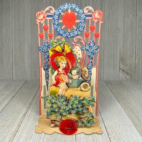 Antique Valentine Teddy Bear Child Car Stand-Up Diecut Honeycomb Germany
