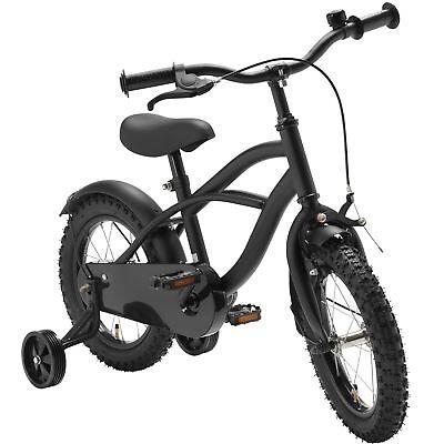 14 Zoll Fahrrad schwarz matt Kinderfahrrad Stützräder Black Cruiser Jungen 1401G