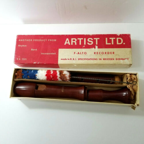 Rare Vintage Artist Ltd. F- Alto Solid Wood Recorder West Germany