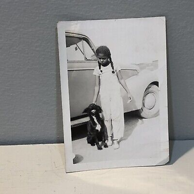 Vintage Photo Pretty Little African American Girl Child Dog 30's Car