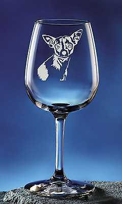 Personalized Chihuahua Pet Dog Etched Wine Glass 12.75oz