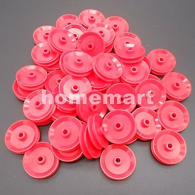 50pcs X Plastic Pulley Wheel Toy Wheels Small Flywheel Dia. 29mm A4mm 3.9mm Red
