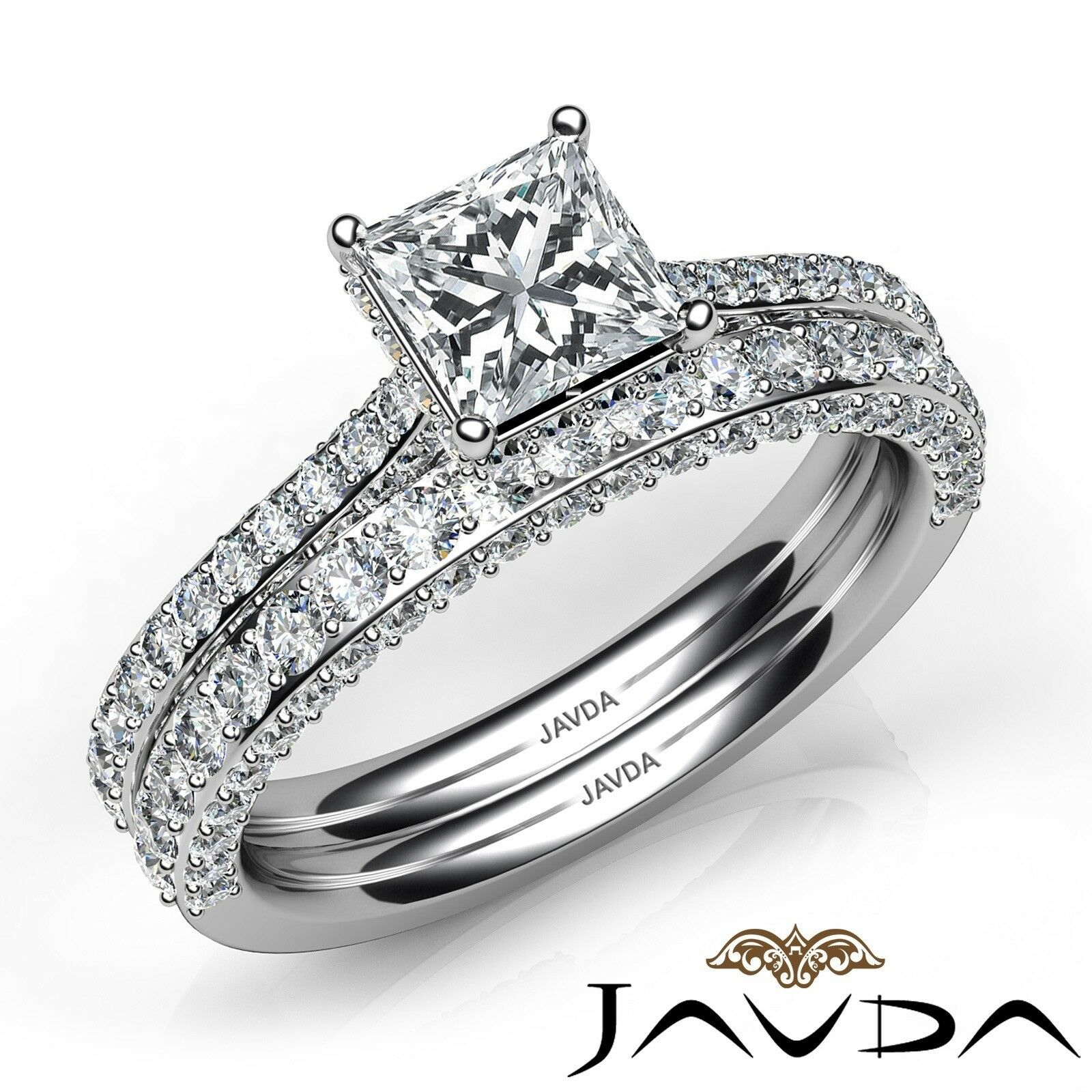 2.35ctw Circa Halo Pave Wedding Set Princess Diamond Engagement Ring GIA G-VVS1 1